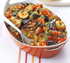 Roast summer vegetables & chickpeas. A summery tomato-based stew, packed with veg and perfect to make ahead