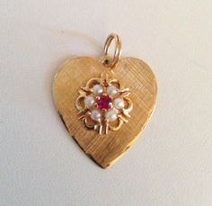 Vintage 14K Gold Heart Charm or Pendant ~ Center Ruby & Six Pearls ~One Owner  #AJCrownHallmark