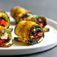 curry grilled zucchini rollups | stuffed with goat cheese + roasted red peppers