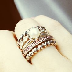 Pandora Stack Rings. The Valentine mini heart ring goes with everything!!