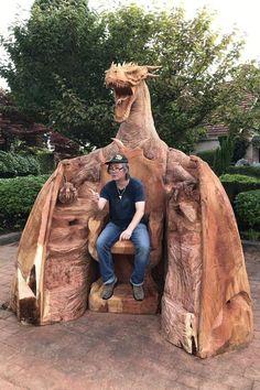 Dragon Throne! Chainsaw Wood Carving, Wood Carving Art, Wood Art, Driftwood Sculpture, Sculpture Art, Metal Sculptures, Abstract Sculpture, Bronze Sculpture, Dragon House