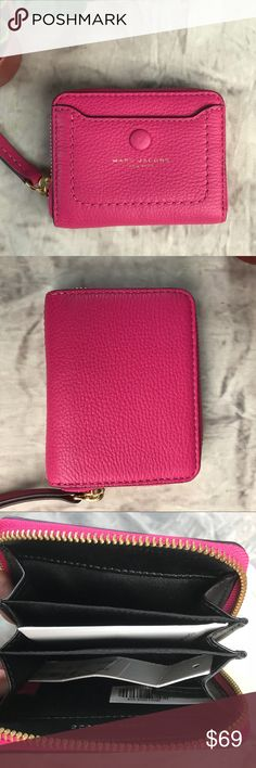 MARC JACOBS Zip Card Mini Case in Begonia Leather New with tags Leather exterior fabric lining Full zip closure Multiple interior compartments Exterior snap pocket Marc Jacobs Bags Wallets