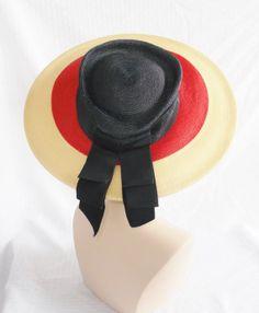40's 50's Vintage Wide Brim Hat Blue Red and by MyVintageHatShop, $46.00
