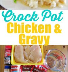 2 packets dry chicken gravy mix 1 oz can cream of chicken soup 2 cups water 1 lb boneless, skinless chicken breasts garlic powder, salt & black pepper to taste cup sour cream rice, mashed potatoes or noodles for serving Ww Recipes, Slow Cooker Recipes, Crockpot Recipes, Chicken Recipes, Cooking Recipes, Recipies, Dinner Recipes, Crockpot Chicken And Gravy, Cream Of Chicken Soup
