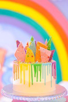 Rainbow Bark Drip Cake from a Care Bears Birthday Party on Kara's Party Ideas | KarasPartyIdeas.com (8)