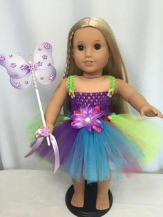 """American Girl Doll Rainbow tutu dress Wings And Wand clothes fits all 18"""" dolls"""