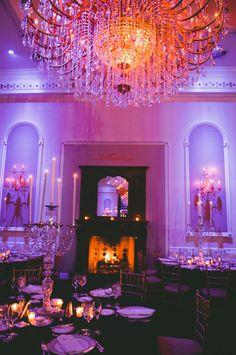Black and white wedding ideas | Wedding uplighting | Winter wedding ideas | Photo: LongBrook Photography