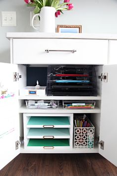 Create a Family Charging Station Cabinet to Keep Organized and Clutter Free