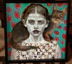 Portrait by Papoulia Smaragda Pick Art, Wolves And Women, Collage Art Mixed Media, Social Art, Funky Art, Greek Art, Figurative Art, Cat Art, Female Art