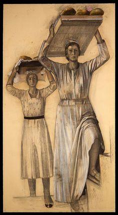 "Pietro Gaudenzi, ""Due donne con vassoi"", 1938, pastello su carta 220x120 cm."