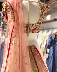 An elegant lehenga by is now available at South Extension store. ✨ Shop Now. Desi Wedding Dresses, Bridal Dresses, Dress Wedding, Party Dresses, Bridal Blouse Designs, Saree Blouse Designs, Indian Dresses, Indian Outfits, Frock Patterns
