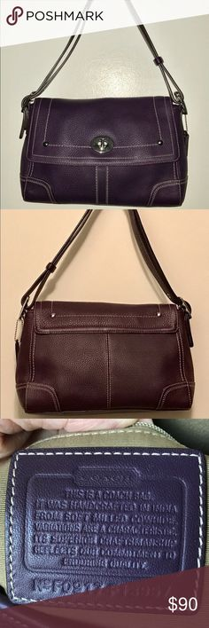Coach Hamilton Flap Bag Eggplant 🍆 Colored Medium Flap purse. Pebbled leather, 1 pocket under Flap; 3 small pockets in main compartment inside. Adjustable strap. Like new condition; only wear is a few light scratches on the silver buckle. Coach Bags Shoulder Bags