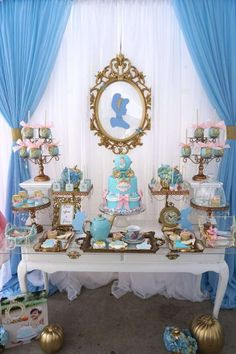 This regal Cinderella dessert table is absolutely perfect! It's just so elegant! The framed Cinderella silhouette is the perfect touch. And that cake... wow! See more party ideas and share yours at CatchMyParty.com