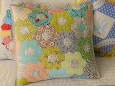 Texty Hexie pillow from the magnificent Svetlana of S.O.T.A.K. Handmade from the blog of Molly Flanders