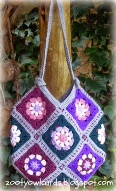 Zooty Owl's Crafty Blog: 13 Granny Squares Bag:   Pattern