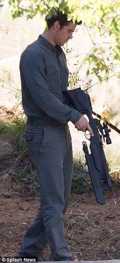 Liam Hemsworth as Gale Hawthorne on set of Mockingjay Part: 1. DISTRICT 13 UNIFORMS!