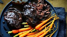 This recipe is a good excuse to fire up the oven and spend a chilly winter afternoon creating a tender masterpiece. Braised beef cheeks and wee baby carrots. Italian Recipes, Beef Recipes, Savoury Recipes, Cooker Recipes, Recipies, Baby Carrot Recipes, Pork Cheeks, Best Meat, Menu
