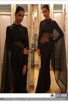 Bollywood deepika padukone black Georgette Saree With Russal net Blouse - for women online Please msg or whatsapp at 7534937587 for order details Mode Bollywood, Bollywood Saree, Bollywood Fashion, Bollywood Actress, Indian Bollywood, Bollywood Celebrities, Sabyasachi Sarees, Georgette Sarees, Lehenga Choli