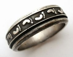 The Jewelry Lady's Store: Sterling Silver Spinner Footprint Ring Signed Jix