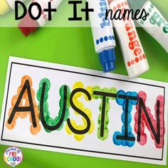 FREE Editable Name Mats FREE name dot it mats to teach student's his/her names! Perfect for preschool, pre-k, and kindergarten. FREE Editable Name Mats FREE name dot it mats to teach student's his/her names! Perfect for preschool, pre-k, and kindergarten. Kindergarten Name Activities, Preschool Names, Preschool Writing, Pre K Activities, Kindergarten Centers, Preschool Lessons, Alphabet Activities, Preschool Learning, Preschool Crafts