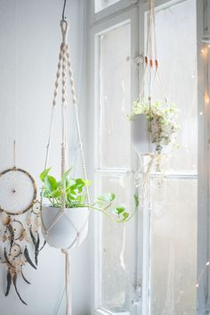 A detailed Macrame Plant Hanger Tutorial - all steps are explained in English and German as well as with lots of pictures to guide you through the DIY!