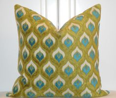 Decorative Pillow Cover - 20 x 20 - Accent Pillow - Throw Pillow - Teal/Blue - Olive Green - Peacock. $59.00, via Etsy.