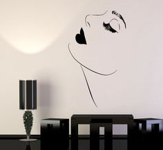 Vinyl Wall Decal Beautiful Girl Model Sexy Lips Makeup Eyelashes Stickers (1418ig)