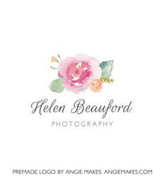 This Pretty Watercolor Flower Logo Features a Hand Painted Flower by Yours Truly and Some Lovely Script Text. Brand Your Business With This Flower Logo!