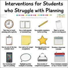 Interventions for Executive Functioning Challenges: Planning Over 20 interventions and supports for helping students who struggle with planning, a key executive functioning skill necessary for success inside and outside of school. Strategies for kids and High School Counseling, School Social Work, School Counselor, Law School, Psychology Resources, School Psychology, Psychology Careers, Activities For Teens, Therapy Activities