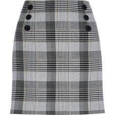 Cream check print front button mini skirt