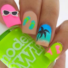 Neon Beach Inspired Nails With Palm Tree