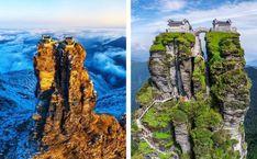 Το θέαμα δύο ναών, «σκαρφαλωμένων» στις κορυφές δύο πανύψηλων βράχων στην Κίνα, κόβει την ανάσα. Οι δίδυμοι ναοί, φαίνεται να έχουν χτιστεί εκεί σαν από θαύμα. Στέκονται αγέρωχοι 2.336 μέτρα πάνω από την επιφάνεια της θάλασσας και χωρίζονται από ένα φαράγγι, το Gold Sword Gorge, το οποίο ψηλά ενώνεται από μια γέφυρα. Αυτό το μοναδικό […] Photography Tours, Nature Photography, Guiyang, China Travel Guide, Buddhist Temple, Short Trip, Heritage Site, Amazing Architecture, Beach Holiday