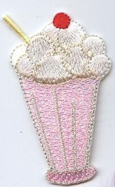 Iron On Embroidered Applique Patch Soda Shoppe Ice Cream Sundae 50s Pink Glass