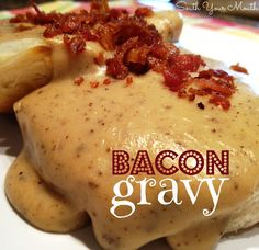 Rich country gravy made from bacon drippings served over biscuits or toast. I grew up on bacon gravy & biscuits. Linda's comment: My mom made the BEST EVER! Bacon gravy remains my all-time fav even today :) Breakfast Dishes, Breakfast Time, Breakfast Recipes, Breakfast Gravy, All You Need Is, Just In Case, Food Styling, Sausage Gravy, Bacon Grease Gravy Recipe