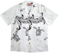 2a54b0970 Honu Tattoo Tradition Chest Band Men's Hawaiian Aloha Cotton Shirt in Cream  - S