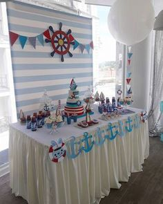 Marinheiro First Birthday Party Themes, Boy Birthday Parties, Baby Birthday, Birthday Party Decorations, Sailor Birthday, Nautical Mickey, Nautical Party, Sailor Baby Showers, Baby Boy Shower