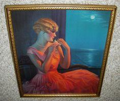 OLD 1935 PRINT ~ MOONLIGHT AND YOU ~ GENE PRESSLER ~ ART DECO FRAME ~ OLD GLASS #Realism