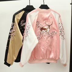 "Harajuku embroidery baseball jacket   Coupon code ""cutekawaii"" for 10% off"