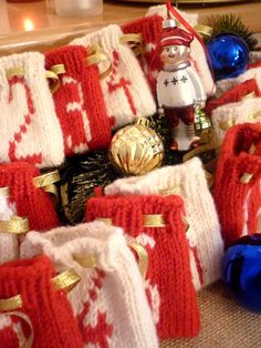 Items similar to Hand made knitted advent calendar for 24 days, red and white, on Etsy Advent Calendar, Red And White, Hands, Knitting, Day, Handmade, Home Decor, Hand Made, Tricot