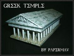 Greek Temple Free Building Paper Model Download Des colonnes de pierre ou de marbre soutiennent l'entablement, la  partie juste sous le toit, de marbre ou de bois.