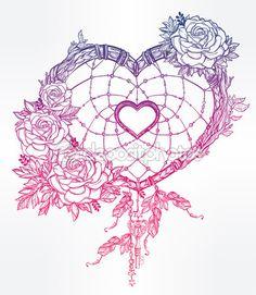 Atrapasueños con plumas en forma de corazón — Ilustración de stock #95963976