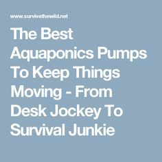 The Best Aquaponics Pumps To Keep Things Moving - From Desk Jockey To Survival Junkie