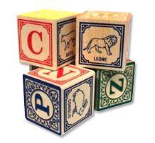 parli italiano? italian alphabet blocks = made in the USA