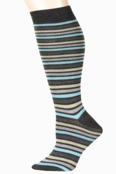 9b49845c4 Sporty Color Thin Stripe Knee High Socks 6 Pairs Assorted Colors Size 9-11  Yelete.  18.99