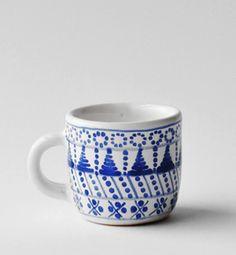 šálka malá - modranska (modrá) #ceramic #potery