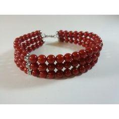 Bracciale 3 fili con argento 925 e corallo rosso bamboo