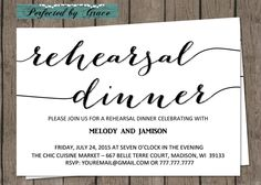 Rehearsal Dinner Classy but Simple Black and White With Bombshell Font Rehearsal Dinner Invitation by PerfectedbyGrace on Etsy