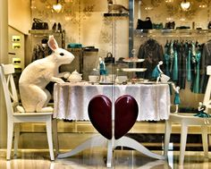 Moschino Easter | Alice in Wonderland display in Milan