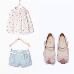 Zara Baby Girl Light Blue Shorts with Pink Flats
