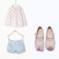 Zara Baby Girl Light Blue Shorts with Pink Flats